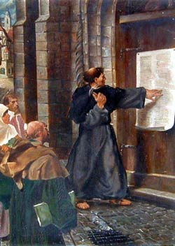 Martin Luther nails his theses to the door. & Martin Luther Champion for Truth
